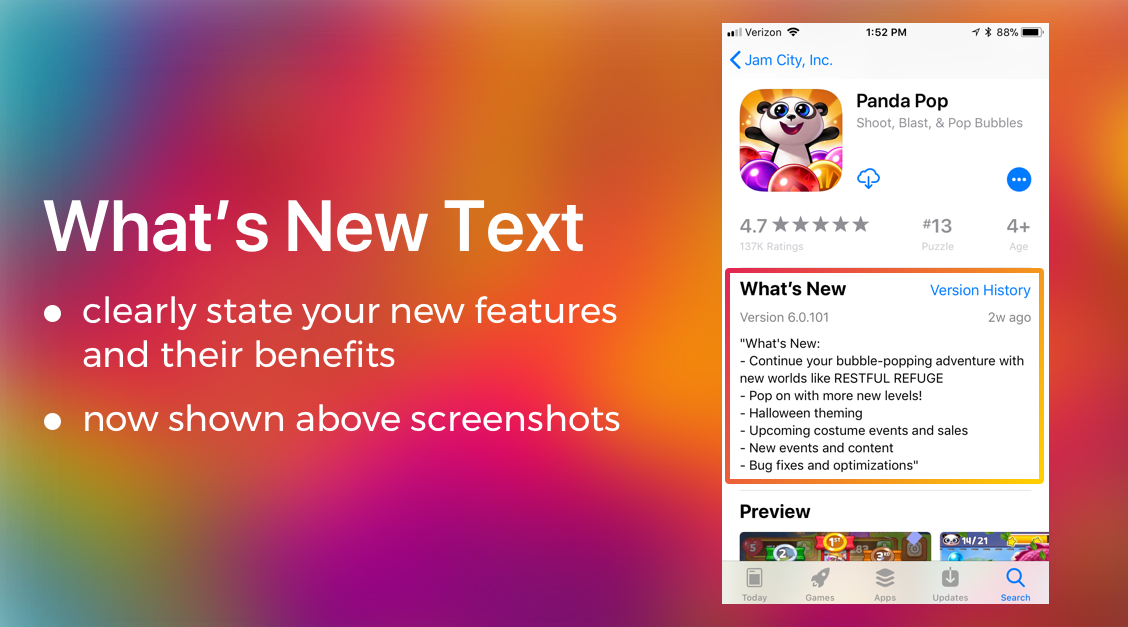 What's New Text Update | ASO App Update | The ASO Project Blog | App Optimization Company