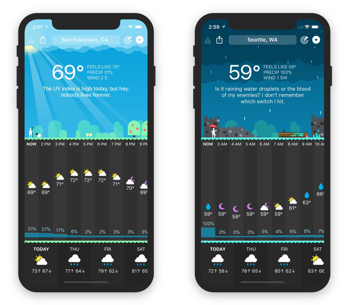 Carrot Weather App | iPhone X app UI design | The ASO Project