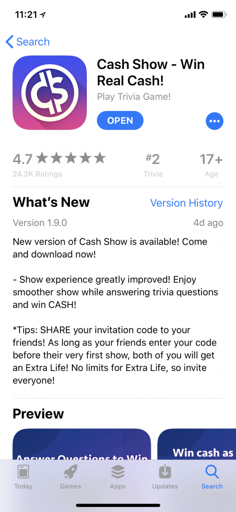Leveraging Apple's What's New text for ASO | Cash Show Example | App Store Optimization Blog