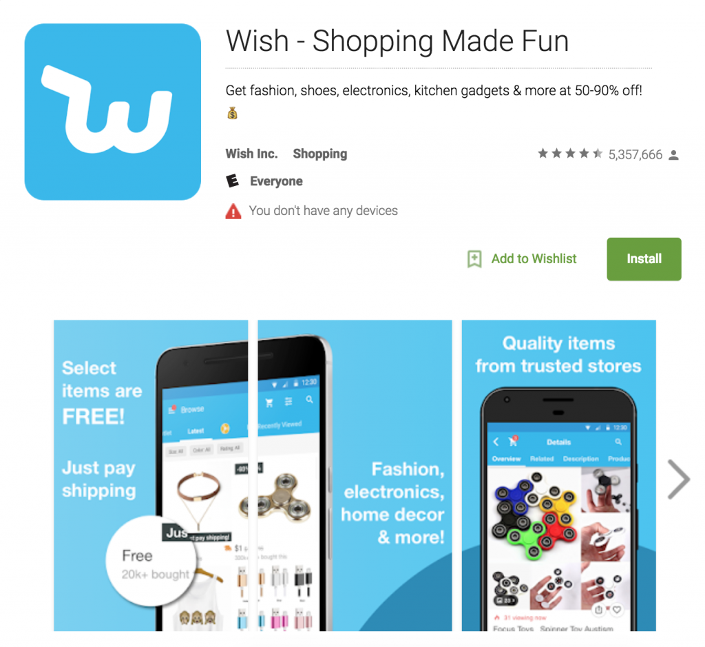 Wish App | Ecommerce App Store Optimization | ASO for ecommerce | m-commerce apps | The ASO Project Blog