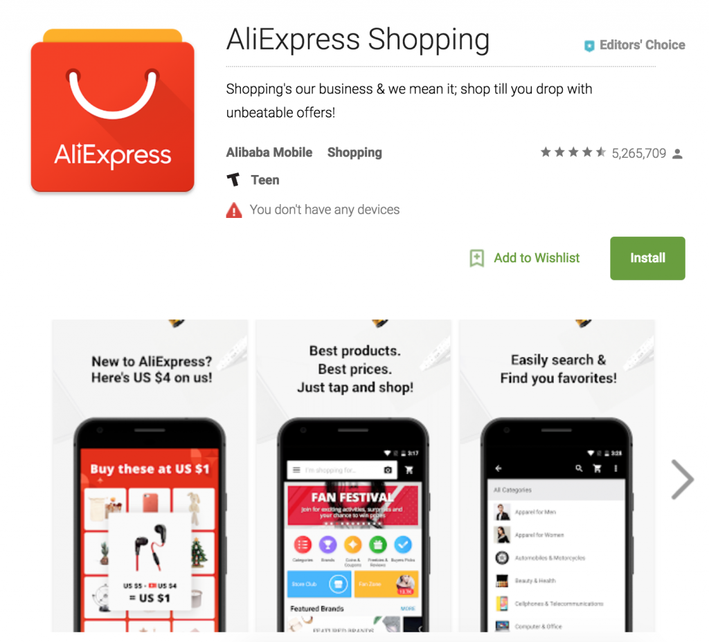 AliExpress App | Ecommerce App Store Optimization | ASO for ecommerce | m-commerce apps | The ASO Project Blog