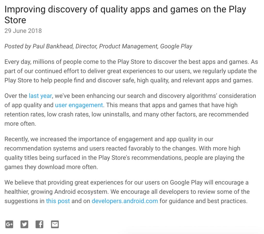 Android Developer Blog June 2018 Google Play update