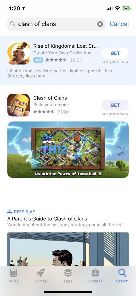 On the other hand, this example of Clash of Clans shows that a competitor can easily show higher than you if you're not running an optimized brand search ads campaign: - Apple Search Ads Brand Defense advertising - The ASO Project - App Store Optimization Company